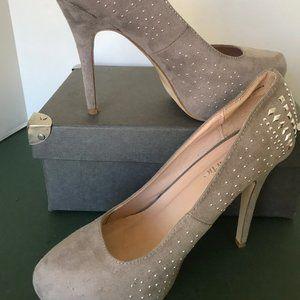 Charming Charlie Taupe Suede Platform Stilettos